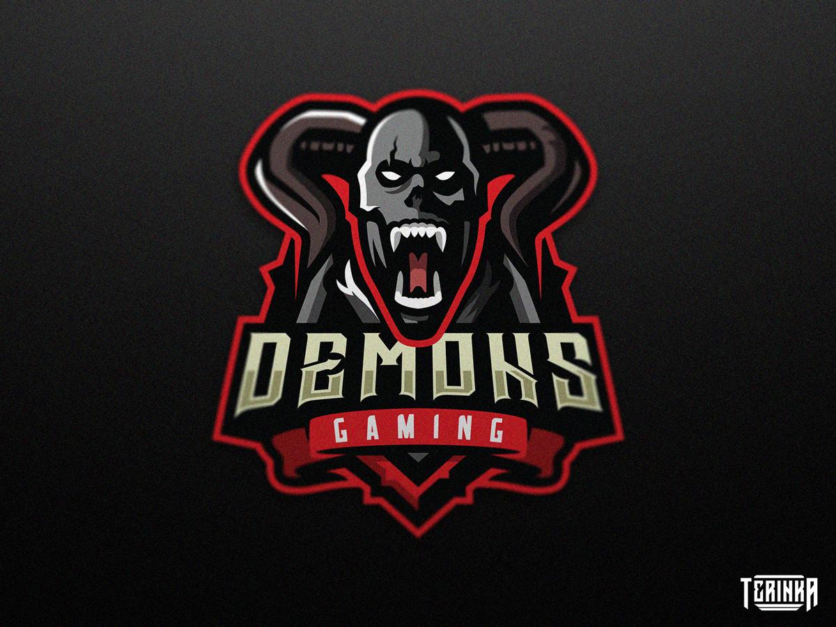 Demons Gaming dark branding illuatration mascot logo mascot logo horns skull demon