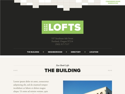 East Bank Lofts ui identity typography green
