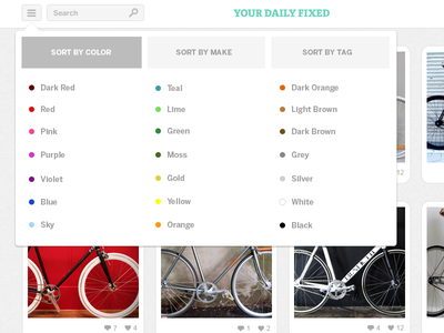 Your Daily Fixed sorting filter sorting menu colors