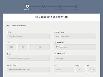 FP Transitions registration form progress input select