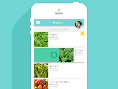 Harv.st ingredient selection mint flat long shadow thin type mailbox circular headshot mobile ui app ui iphone clean