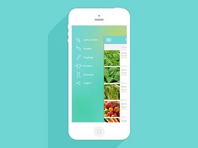 Harv.st menu view flat long shadow thin type circular headshot mobile ui app ui iphone clean