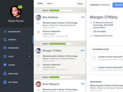 Sourcing navigation dashboard blue clean app nav alerts icons