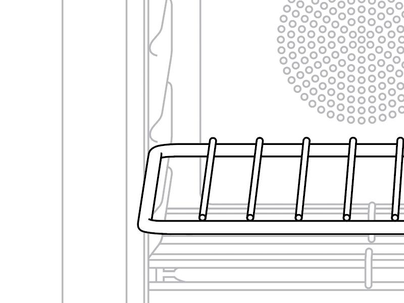 Oven detail line drawing illustration