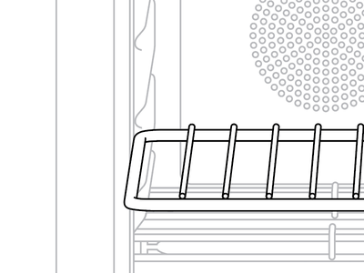 Oven detail line drawing illustration