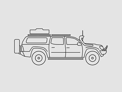 Toyota Tacoma glyph icon illustration outline toyota tacoma truck overland overlandr