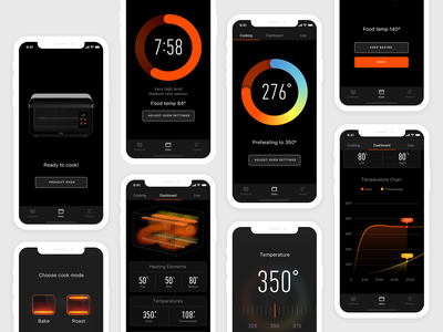 June Oven Remote infographic interface dashboard status product design product remote control iphone ui app