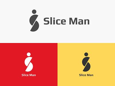 Logo Slice Man flat typography branding design logo