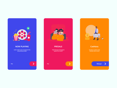 Movie OnBoarding Colorfull mobile onboarding simple colorful apps movie