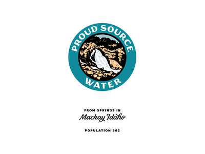 Proud Source Water waterfall packaging water nature idaho illustraion logo badge branding