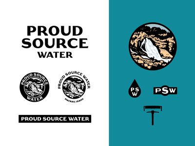 A Proud History history idaho vector branding waterfall water illustration icons logo badge