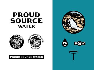 A Proud History history idaho vector branding waterfall water illustration icons logo badge
