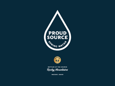 A New Proud Source idaho rocky mountains packaging typography gold badge logo branding water