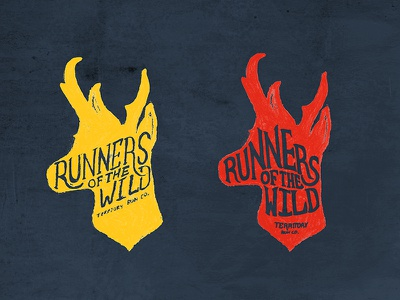 Runners Of The Wild running lettering typography antelope nature tee t-shirt badge