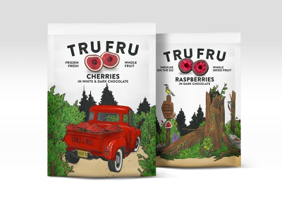 Tru Fru candy snack colored pencil branding food cherries nature truck illustraion