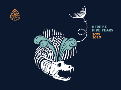 Here Be Five Years water anniversary brewery beer fish ocean illustration lettering branding monster skeleton