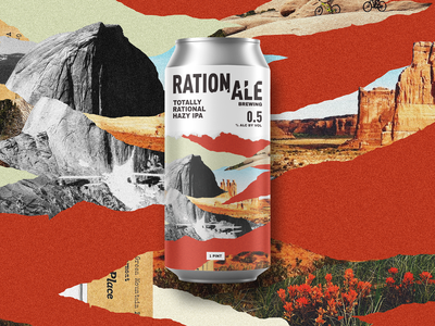 Rationale Brewing label can non-alc desert nature packaging brewing logo branding collage brewery beer