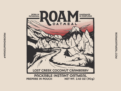 Roam Oatmeal No.3 tent packaging oatmeal nature mountain lettering illustration hiking halftone food colorado backpacking
