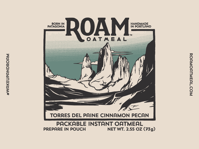 Roam Oatmeal No.4 packaging oatmeal nature logo lettering illustration hiking halftone food travel cpatagonia backpacking