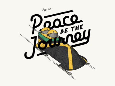 Peace Be The Journey winter jamaica label beer illustration bobsled typography lettering