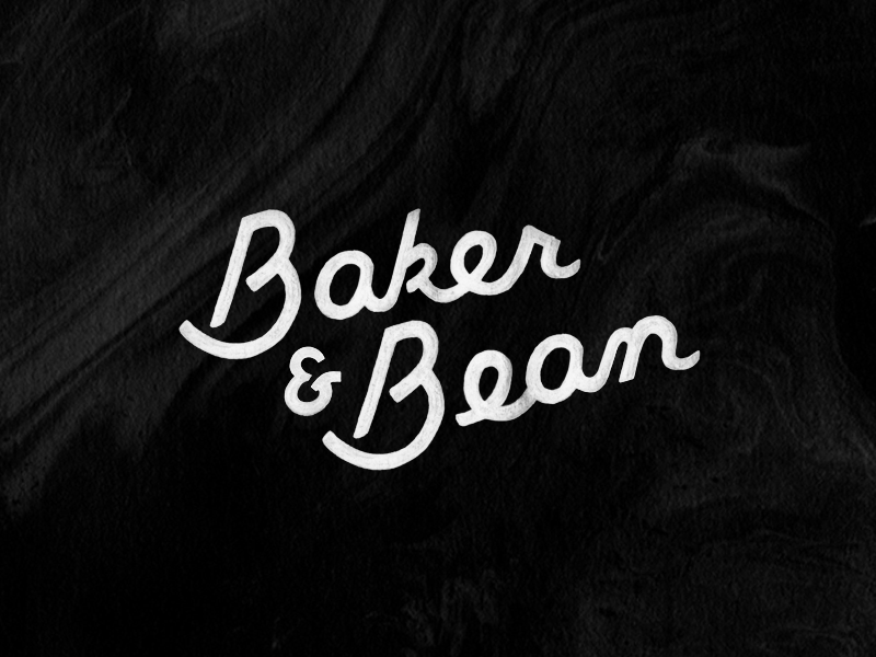 Baker & Bean Script bakery branding lettering logo