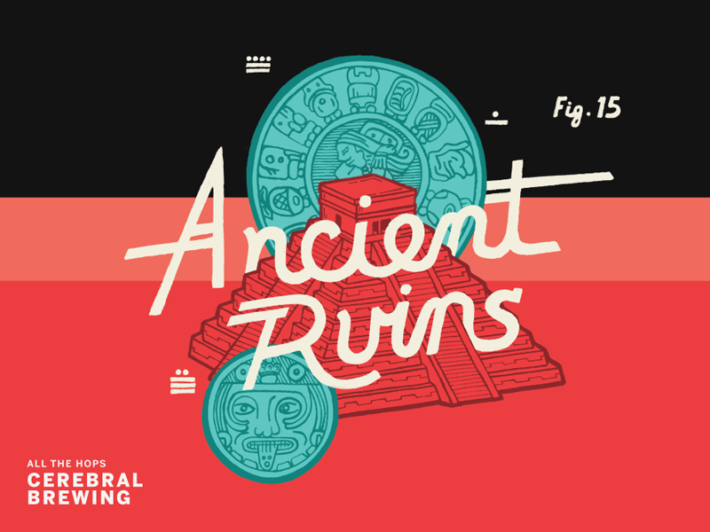 Ancient Ruins denver packaging label coin mayan pyramid lettering illustration beer