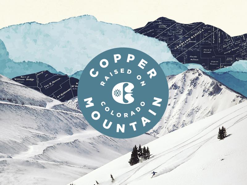 Copper Badge branding copper mountain nature colorado collage mountain skiing ski badge
