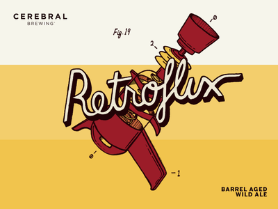 Retroflux retro raygun illustration lettering packaging beer