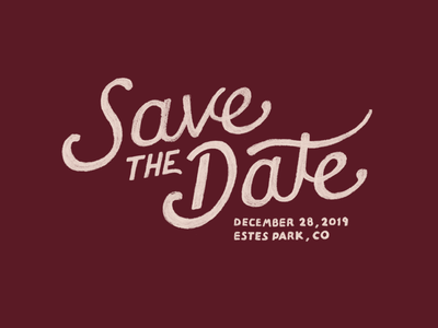 Save The Date 2 winter estes park colorado invite wedding save the date typography lettering