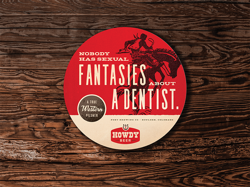Fantasies badge typography western campaign brewery bar coaster beer
