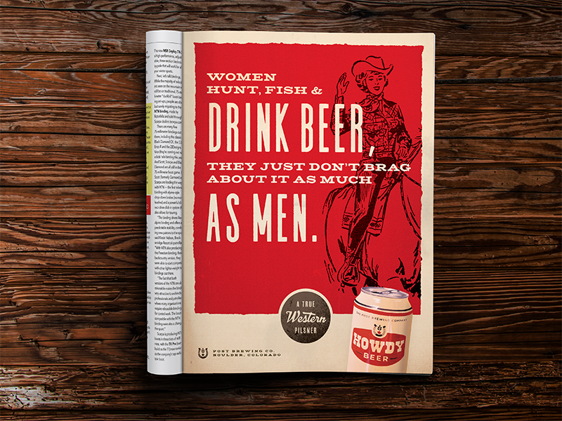 Don't Brag typography colorado campaign tagline cowgirl cowboy western brewery beer magazine layout print