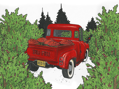 Cherry Truck fresh farmers market farm vintage cherry truck fruit illustration