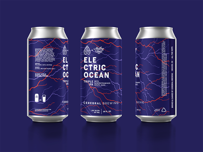 Electric Ocean typography california colorado brewery can electricity lightning illustration packaging beer
