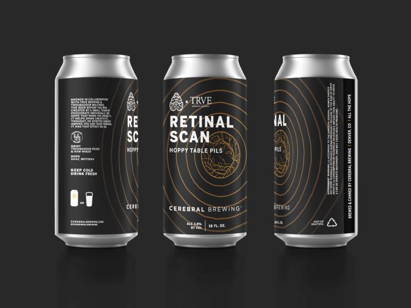 Retinal Scan black can eye science design packaging beer typography