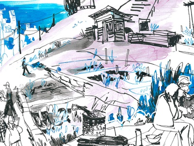 food forest sketch ink reportage seattle