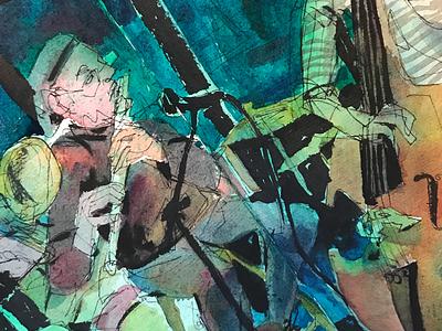 Jazz reportage sketchbook watercolor