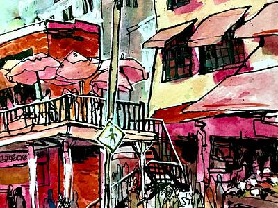 Market seattle illustration watercolor urban sketching