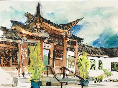 Chinese garden urban sketching architecture seattle illustration watercolor