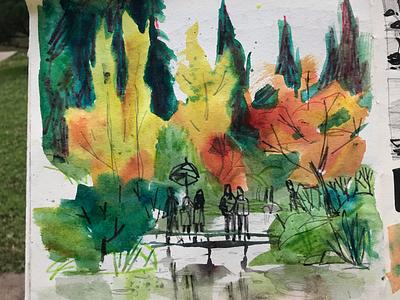 Japanese Garden painting seattle sketchbook watercolor illustration