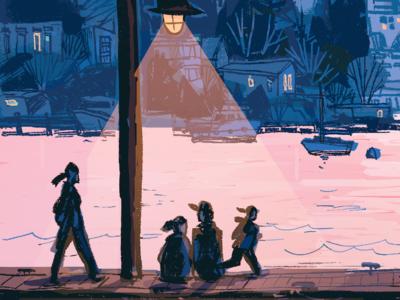 lake washington ink illustration pacific northwest ink digital art