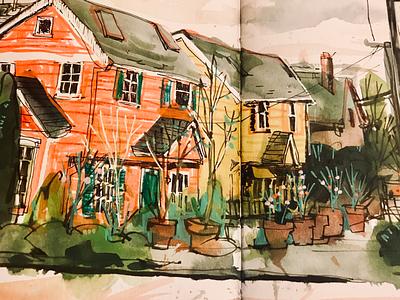 Winter roses urban sketching seattle watercolor sketching