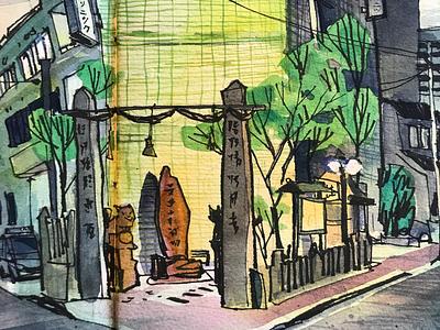 Shrine drawing urban sketching japan hiroshima watercolor sketchbook