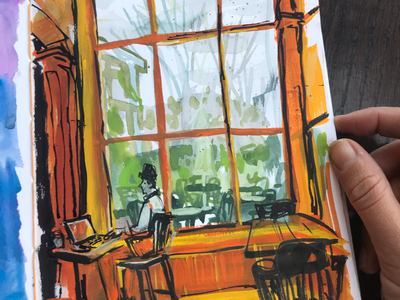 Café Day environment gouache painting sketchbook seattle