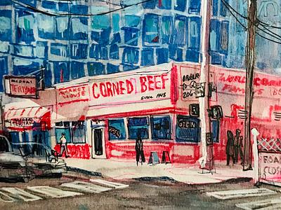 Market House Meats painting sketchbook seattle
