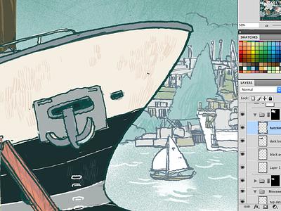 Lake Union boats seattle illustration digital art