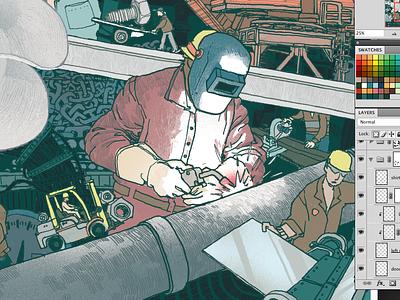 Dry Dock Co. colorist digital art illustration industry welder lake union seattle