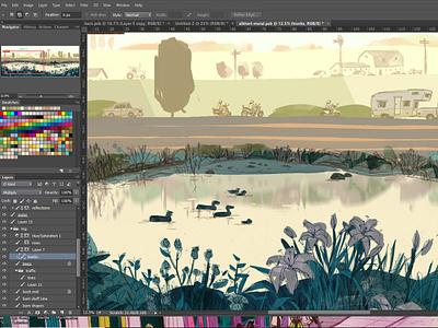 joyride digital artist scooter motorcycle landscape illustration photoshop digital art