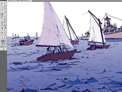 parade of sail norfolk drawing ink sailboat vector illustration vector