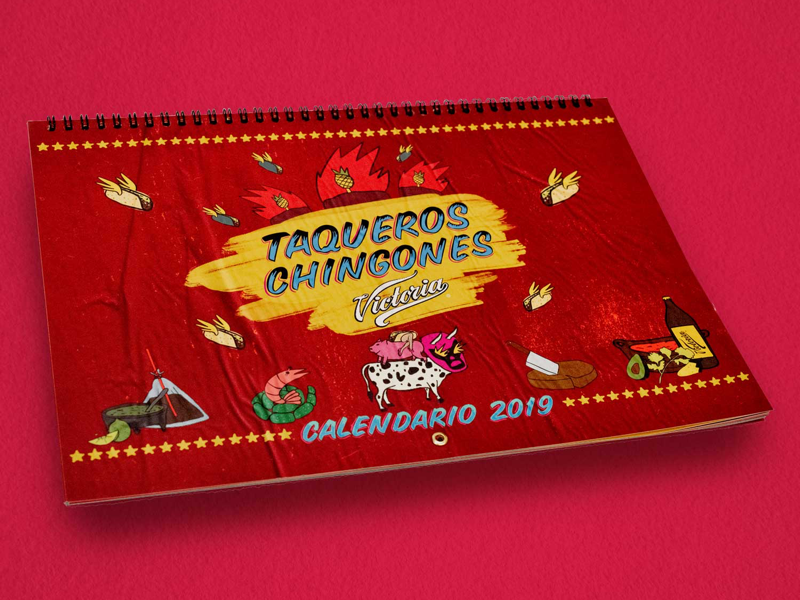 Taqueros chingones calendar mexico tacos calendar illustration sign painting rótulos