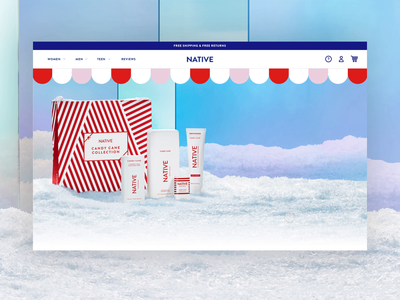 Native Holiday Landing Page candy wrapping paper pastel green red homepage branding design motion animation color blocking snow ecommerce candy cane christmas holiday landing page deodorant native